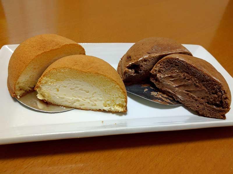 菜菓亭 しふぉんか 半分にカット(左:チョコレート 右:カスタード)