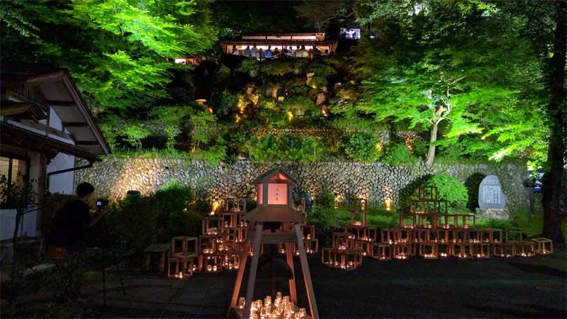 よいた楽山苑 ライトアップ キャンドル装飾展示