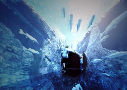 足もとまでアクリルガラス「チューブトンネル」
